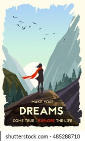 Inspirational poster. Girl standing alone on rock watching sunset in mountains. Vector Illustration