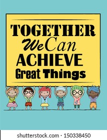 Inspirational Poster with Kids Illustration