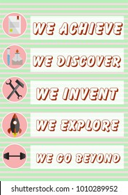Inspirational poster for women's day with professional badges