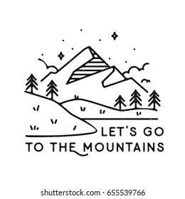 Inspirational vector illustration - Let's go to the mountains