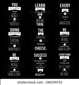 Inspirational, vintage looking quotation pack. Vector art.
