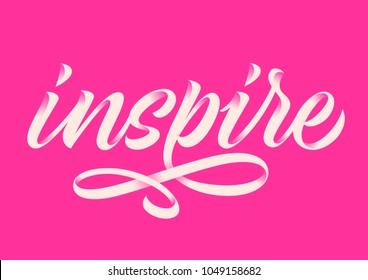 inspire, handwritten word, calligraphy, pink background