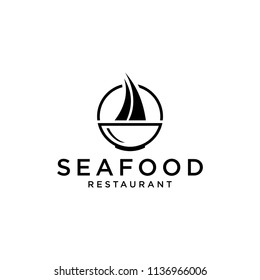 Inspire the logo of a seafood restaurant menu with sailboat icons and soup bowls