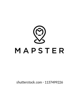 Inspire logo / symbol pin location with the symbol of the initial letter M as the company's first name.