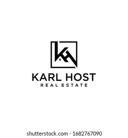 Inspire logosymbol with initials K,H in form into one like house logo design template.