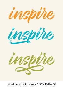 inspire, set of handwritten words, calligraphy