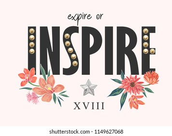 inspire slogan with pearl rivets and flower illustration