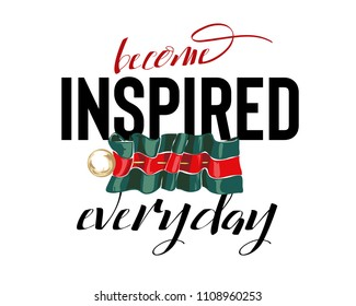 inspire slogan with pin on stripe ribbon illustration