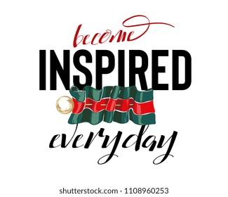 inspire slogan with pin on stripe ribbon illustration