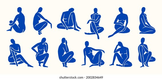 Inspired by Matisse, Women's figures In different poses in a trendy minimalist style. Vector Art Collage of women's bodies made of cut paper for creating Logos, patterns, posters, covers and postcards