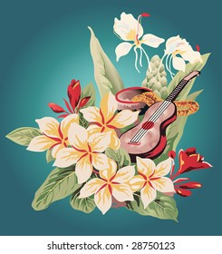 inspired by a vintage Hawaiian Aloha shirt, an image of tropical flowers, a calabash with feather lei, and a ukulele