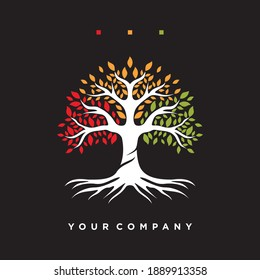 Inspired colorful tree logo with a modern design. Concept of colorful leafy tree vector illustration. Vector logo template design. The concept of plants, nature and ecology.