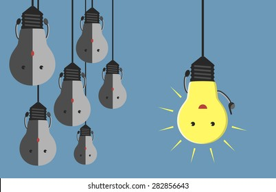 Inspired glowing light bulb character in moment of insight hanging beside many gray dull ones. Innovation, motivation, insight, inspiration concept. EPS 10 vector illustration, no transparency