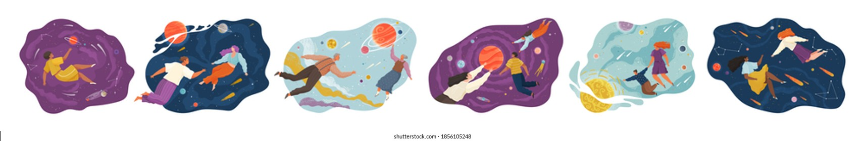 Inspired People flying in space. Collection of man and woman floating during exploration. New user experience, horizons and discoveries, worlds. Moving and floating in dreams, imagination inspiration