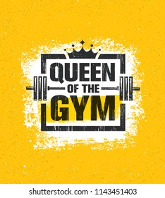 Inspiring Woman Female Workout and Fitness Gym Motivation Quote Illustration Sign. Creative Strong Sport Vector Rough Typography Grunge Wallpaper Poster Concept