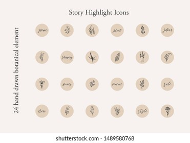 Insta Story Highlight Cover Icon. Highlight Story Natural. Hand Drawn Floral Logo. Logo Template for photographer, fashion blogger, yoga studio. Monoline style Herb. Simple line style