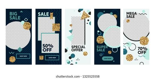 Insta Story Super Sale Offer Mobile App Page Onboard Screen Set. Fun Modern Glitter Circle Square Blue Design. Social Media Background Website or Web Page. Flat Cartoon Vector Illustration