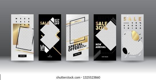 Insta Story Template Sale Mobile App Page Onboard Screen Set. Modern Silver Black Idea for Design. Social Media Background Website or Web Page. Flat Cartoon Vector Illustration