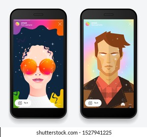 Instagram AR mask filter screen interface in social media application with man and girl face. Photo frame design app post template. Vector mock up illustration