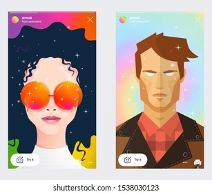 Instagram AR mask filter screen interface in social media application with man face. Photo frame design app post template. Vector mock up illustration