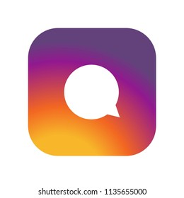 Instagram comment icon  on gradient color background vector icon. Simple element illustration.Instagram comment  on gradient color background symbol design. Can be used for web and mobile.