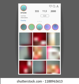 Instagram concept. Social Media interface. Photo frame vector for application. Web template.