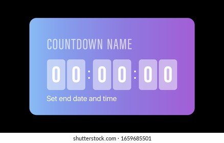 Instagram Countdown Timer. Social Media Sticker. Template Icon. User Interface Button. Stories. Vector Illustration On Black Background. IGTV