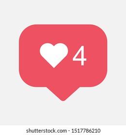 Instagram counter, follower notification symbol . Buton for social media .