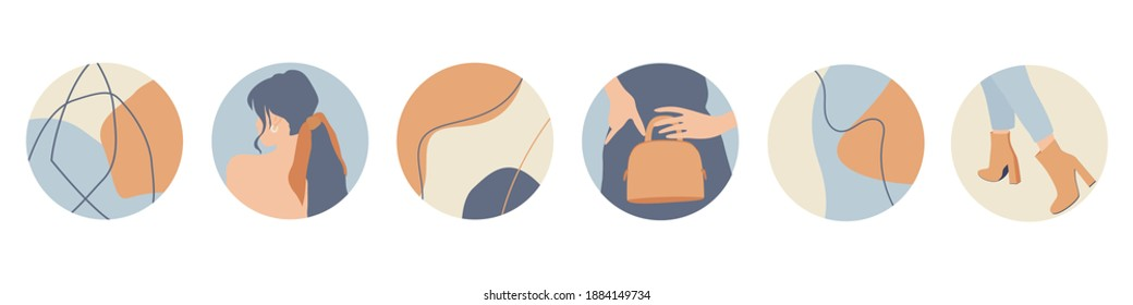 Instagram Fashion Highlight Icon Set. Cover Icons for Saved Stories. Fashion Icons Vector Illustration On White Background