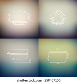 Instagram filter colors style blurred backgrounds with decoration badges, vector  defocused wallpaper template set