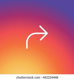 Instagram forward Icon Vector, FW Sign, Arrow element, UI Design, Outline graphic