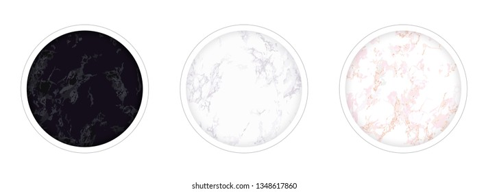 instagram Highlight covers backgrounds. Set of marble templates. Pink, white and black. Use as a backdrop for icons, text or your personal design. Seamless marble textures are included in the palette.