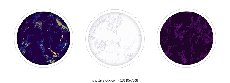 Instagram Highlight covers backgrounds. Set of marble design templates. Blue, purple, gold, white and ultramarine colors. Use as a backdrop for icons, text or your personal design.