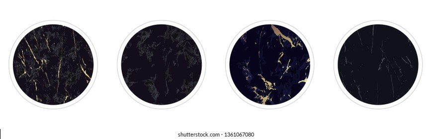 Instagram Highlight covers backgrounds. Set of marble design templates. Black and gold colors. Use as a backdrop for icons, text or your personal design.