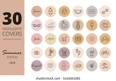 Instagram Highlights cover icons. Summer icons. Outline. Vector