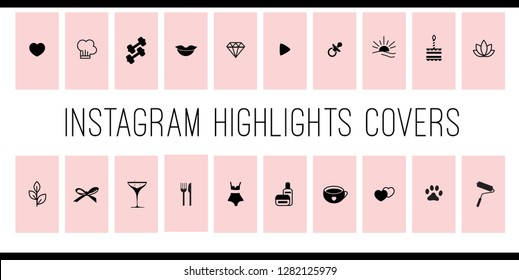 Instagram Highlights Stories Covers Icons in Pink and Black. Perfect for bloggers. Set of 20 highlights covers in pink and copper colours. Fully editable, scalable vector file.