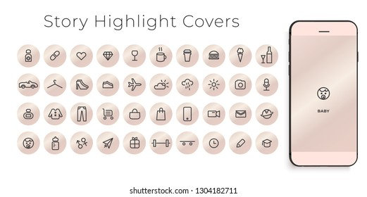 Instagram Highlights Stories Covers line Icons. Perfect for bloggers. Set of 40 highlights covers. Fully editable vector file.