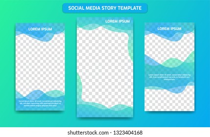 Instagram ig Social media story design template background frame in Fresh Ocean gradient color of blue and green mix