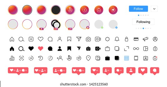 Instagram internet communication social media icons. Vector interface illustration: option, settings, menu, stories, user, symbol, sign logo