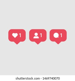 Instagram Like Comment Follow Icons Symbols. Popular Social Media Notification Symbols.