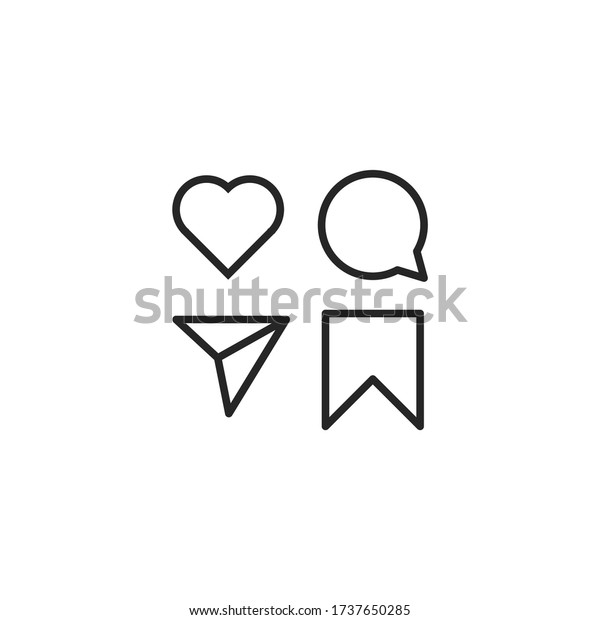 instagram like comment share save icons stock vector royalty free 1737650285 https www shutterstock com image vector instagram like comment share save icons 1737650285