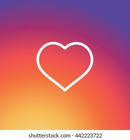 Instagram Like Icon, Colorful smooth gradient color Background Wallpaper, Heart Vector, Love sign, UI element, User Interface symbol