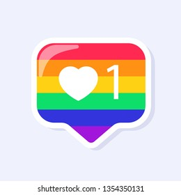 Instagram Like Icon. LGBTQ+ related symbol in rainbow colors. Gay Pride. Raibow Community Pride Month. Love, Freedom, Support, Peace Symbol. Flat Vector Design Isolated on White Background