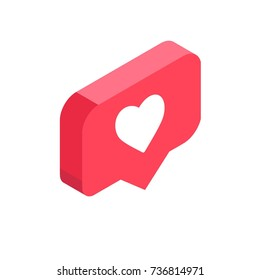 instagram like, isometric icon, pink 3d design illustration of the notification on the social media, vector, EPS10