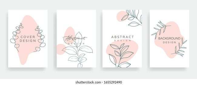 Instagram Main Feed and post creative Vector set. Background template with copy space for text and images design by abstract colored shapes,  line arts , Tropical leaves  warm color of the earth tone