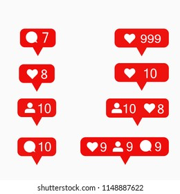 Instagram modern like, follower, comment  red color. Like, comment button, icon, symbol, ui, app, web. Vector illustration. EPS 10.