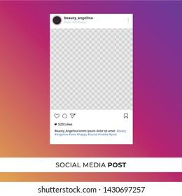 Instagram post template vector illustration. Perfect social media post frame illustration. Instagram gradient.Premium quality.