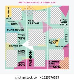 Instagram Puzzle Fashion Sale social media post design template Premium Vector