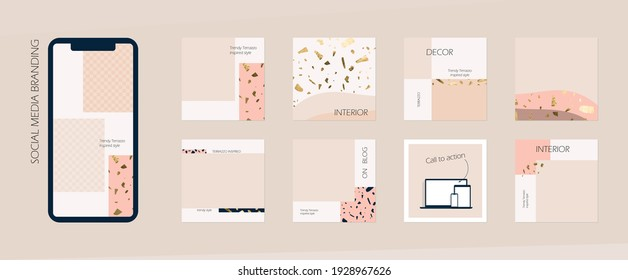 Instagram social media feed branding template. background mockup in nude peach neutral colors marble terrazzo. for interior, architecture, beauty, cosmetics, fashion content. minimalist vector design