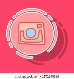 Instagram sticker unusual look web icon of modern lineart camera. Digital application